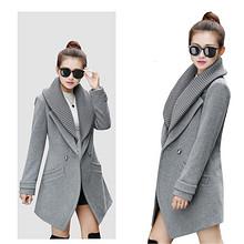 时尚气质# 妙纬 冬季韩版显瘦羊毛呢大衣 99元包邮(399-300券)
