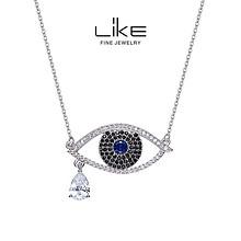守护所爱之人# LiKE珠宝 恶魔之眼纯银项链蓝宝石简约锁骨链 88元包邮(158-70券)