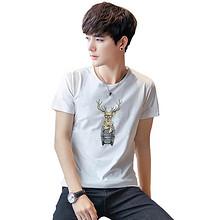 时尚简约# 策哲 夏季男士圆领印花短袖T恤4件装  49.9元包邮(69.9-20券)