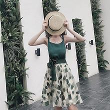 时尚俏皮# 女夏季bf港风漏肩小清新裙2件套 118元包邮(148-30券)