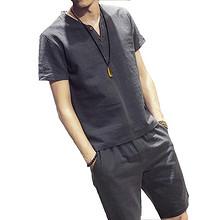 经典百搭# 男士棉麻短袖夏季套装休闲纯色两件套 29元包邮(49-20券)