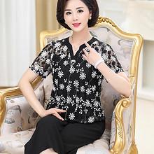 宽松舒适# 靓美莲 中年女士夏季时尚短袖T恤裤子2件套 68元包邮(78-10券)