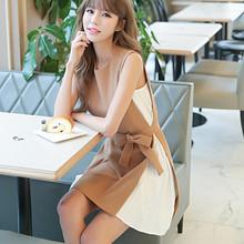 潮流时尚# 女夏季小香风假两件连衣裙系带无袖裙 78元包邮(98-20券)