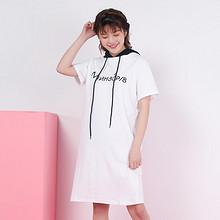 简约显瘦# phoebe darling 连帽T恤裙学院风直筒连衣裙 49元包邮(129-80券)
