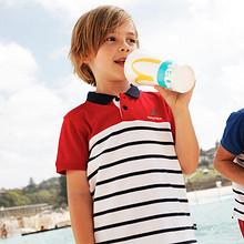 柔软舒适# Nautica 新款男童短袖T恤条纹Polo衫  69.9元包邮(99.9-30券)