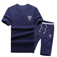 休闲舒适# 韩版潮流短袖t恤男装休闲情侣装两件套 49元包邮(99-50券)