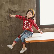 亲肤透气# 秋季新款儿童韩版红色格子两件套  109元包邮(159-50券)