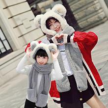 萌萌哒!亲子一体韩版可爱围脖保暖套头帽 15.8元包邮(25.8-10券)