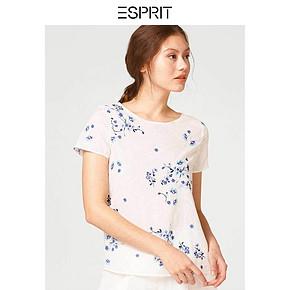 ESPRIT女装清新素雅纯棉宽松舒适圆领印花短袖衬衫-058EE1F016 *3件 291.9元(合97