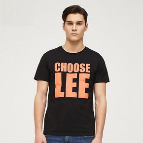 Lee商场同款男装黑色logo印花圆领短袖T恤L300772LQK11 109元