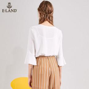 ELAND秋装新款通勤韩版荷叶边减龄显瘦直筒白衬衫女EEBW83704S *2件 286.2元(合1