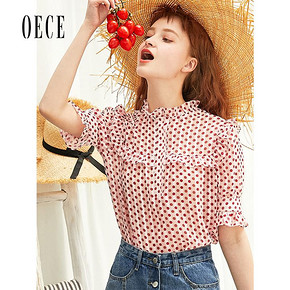 Oece2019夏装新款女装很仙的上衣波点短袖雪纺衫韩版衬衫超仙衬衣 *2件 232.7