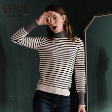 Teenie Weenie冬装高领套头针织衫女韩版修身毛衣 299元