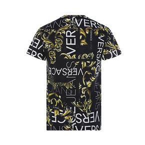 VERSACE JEANS 经典印花图案黑色圆领纯棉材质男士半袖T恤 720元