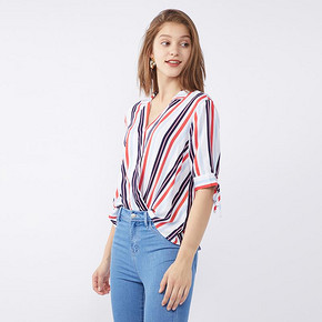 CacheCache衬衣女2019夏季新款很仙的上衣洋气短袖条纹设计感 69.9元