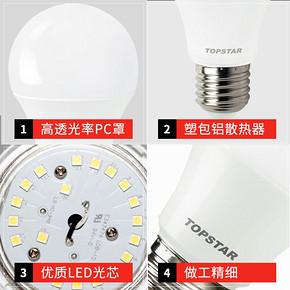 通士达e27螺口节能灯2支装2.5W 0.9元包邮(10.78-5券)