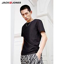 JackJones杰克琼斯男士潮秋新款舒适纯棉纯色打底时尚百搭短袖T恤 74.5元