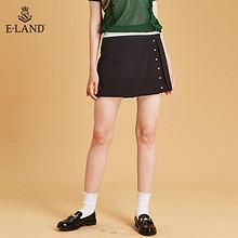ELAND 秋季原宿风素色叠褶珍珠裙式淑女短裤女EETC83751M 259元