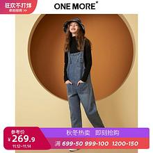¥269.9 ONE MORE2019秋冬新款深蓝色休闲牛仔背带裤甜美学院风时尚长裤女