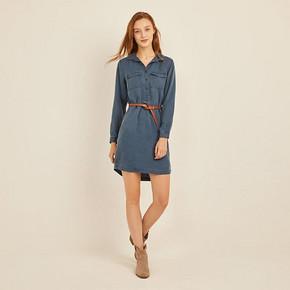 Old Navy女装纯色工装连衣裙 450965 2019新款复古翻领衬衫裙女 169元