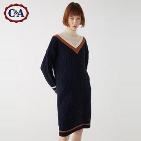 C&A 200221680 撞色罗纹V领毛衣裙 119元