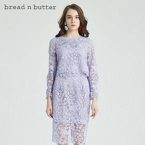 纯色套头上衣bread n butter女装圆领喇叭袖气质蕾丝衫 385元
