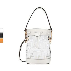 FENDI/芬迪 白色牛皮拼接透明LOGO女包手提单肩包水桶包 4806元