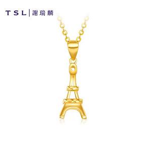 TSL谢瑞麟G+系列黄金吊坠女浪漫铁塔足金黄金项坠吊坠XI525 *5件 3650元(合730