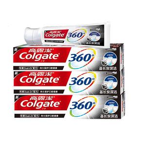 高露洁360备长炭深洁牙膏180g*3组合 限时特价48.9元包邮