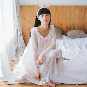 芬腾千线艺睡衣睡裙女夏长袖纯色公主风蕾丝性感长款家居服连衣裙 90.3元