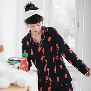 千线艺纯棉睡衣女春夏卡通韩版长袖少女开衫可外穿家居服两件套装 107.4元