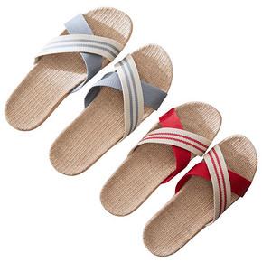 亚麻拖鞋女士夏季室内防滑厚底情侣居家用凉拖鞋男夏天 10.8元