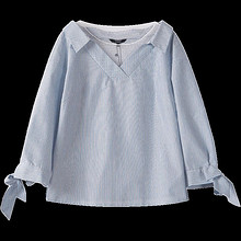 限尺码: Lagogo 拉谷谷 条纹网纱v领衬衫 72元包邮