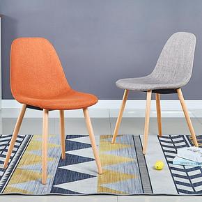 餐椅家用现代简约靠背实木凳子北欧布艺伊姆斯椅子休闲洽谈办公椅 *2件 208