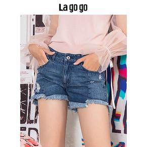 Lagogo 拉谷谷 HCNN137Q64 女士牛仔短裤 69元
