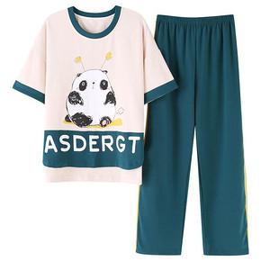 睡衣女夏季棉质短袖长裤学生可爱韩版清新薄款家居服套装夏天薄款 29元