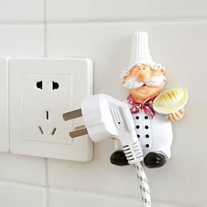 ¥6.75包邮 卡通插座电源线收纳挂架插头挂钩粘钩插座厨房客厅免打洞插头