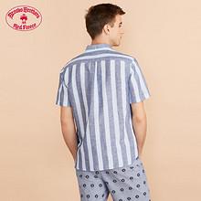 Brooks Brothers/布克兄弟男士20夏新棉亚麻混纺logo款短袖衬衫 *3件 1581.36元(合5