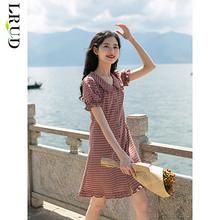 LRUD SJY20139 女士红色泡泡袖连衣裙 69.9元包邮