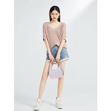 *太平鸟时尚V领线套衫2020夏季新款粉色五分袖毛针织衫A2EE93114 188.3元