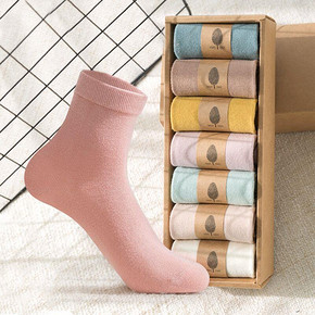 【比尔姿彩】纯棉女士中筒袜子7双装