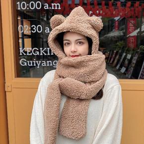 【可爱小熊】毛绒保暖连帽围巾手套一体