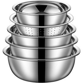 【5件套】厨房加厚不锈钢沥水盆