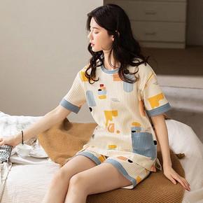 【2021新款】纯棉睡衣女士短袖家居服
