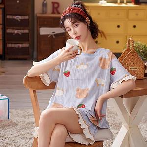 純棉睡衣女夏短袖短褲兩件套
