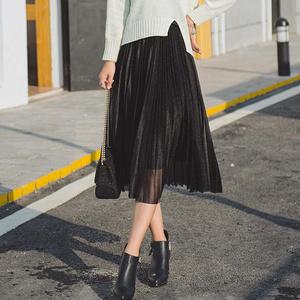 可乐衣 中长款网纱百褶半身裙