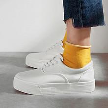 春夏百搭# 人本 小白鞋松糕帆布鞋 37元包邮(62-25券)