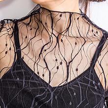 性感百搭# 莎瑞诗 女长袖性感网纱蕾丝上衣 25元包邮(28-3券)