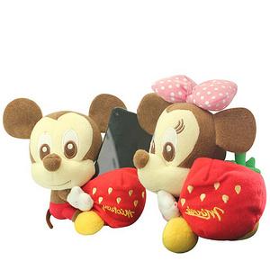 迪士尼 草莓米奇毛绒玩具手机座