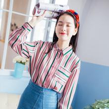 猫娘志 韩版宽松条纹长袖衬衫 59元包邮(69-10券)
